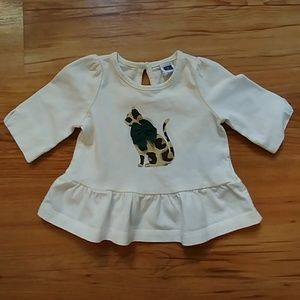 Janie and Jack Cat with Bow Blouse 3-6 months